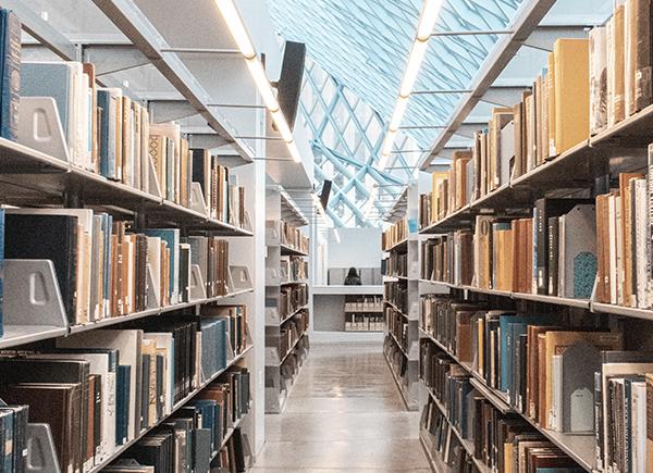 Rayons de livres dans une bibliothèque lumineuse.
