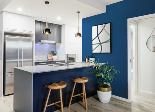 Cuisine contemporaine avec un mur d'accent bleu.