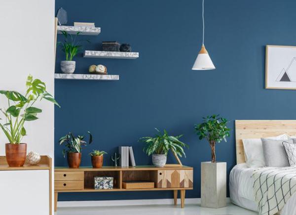 Chambre à coucher avec tablettes au mur pour améliorer le rangement et la décoration.
