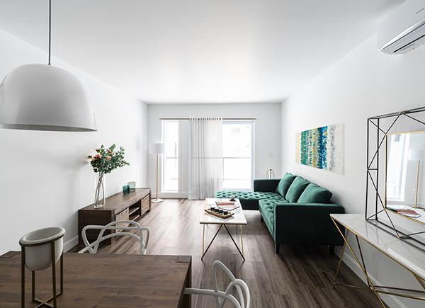 Lumineux salon et salle à manger aux murs blancs.